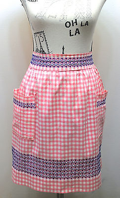 VTG Half Apron Pink/ blue Gingham Feels Cotton With Hand Crosd Stitch Design