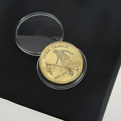 Elvis Presley 1935-1977 The King of N Rock Roll Gold Plated Commemorative Coin