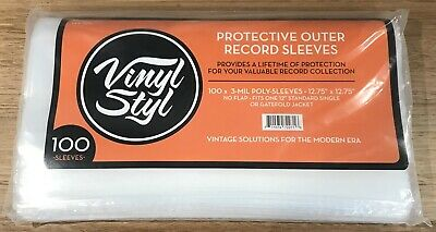 Vinyl Styl Protective Outer Record Sleeves x 100 3 mil NEW/SEALED