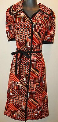 Vintage 1960 Women's Wrap Around Geometrical Orange Made In UK Dress Size M