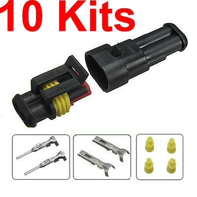10 Sets Car 2 Pin Way Sealed Waterproof Electrical Wire Auto Connector Plug