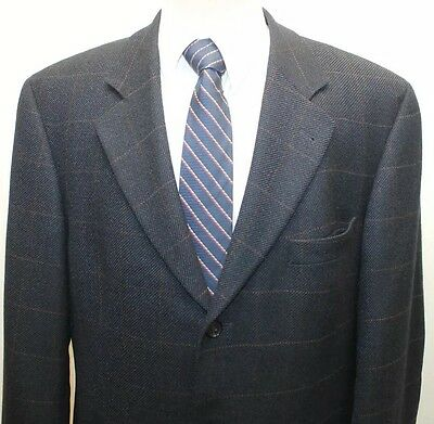 Hugo Boss Navy Blue 100% Wool Plaid Blazer Made In The USA 44R 3 Buttons