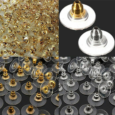 60 pcs Earring Backs Stoppers Findings Ear Post Nuts Gold/Silver/Bronze