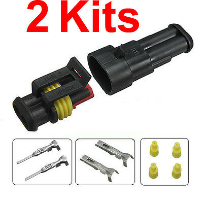 2 Sets Car 2 Pin Way Sealed Waterproof Electrical Wire Auto Connector Plug
