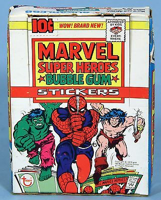 MARVEL SUPER HEROES GUM CARD STICKERS BOX 1976 Topps 36 MINT Packs & Box