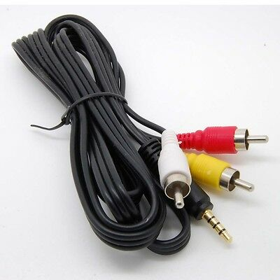 3.5mm to 3 RCA AV A/V TV Video Cable Cord Lead For JVC Video Camera Camcorder