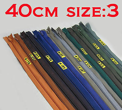 """- New - Nylon Dress Zip/Zipper (16"""") 40cm Assorted Colours Closed End Sewing"""