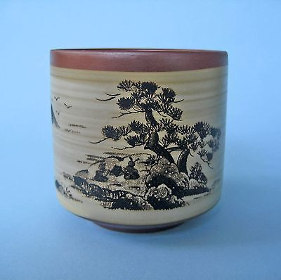 TEA CUP RETRO JAPANESE RED POTTERY Hand Painted Landscape Fine Studio Art