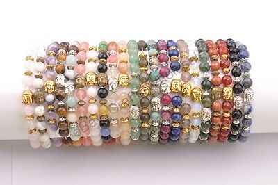 8MM Natural Gemstone Round FACETED Beads  Buddha Head Stretchy Bracelets