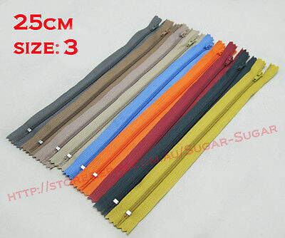 """- New - Nylon Dress Zip/Zipper (10"""") 25cm Assorted Colours Closed End Sewing"""