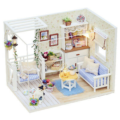 Kits DIY Wood Dollhouse miniature with Furniture Doll house room Angel Dream 3
