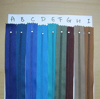 "- New - Bulk Nylon Dress Zip/Zipper (9"") 23cm Assorted Colours Closed End Sewing"