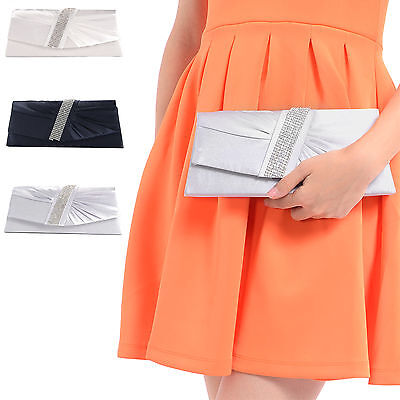 Satin Diamante Pleated Clutch Evening Bag Wedding Prom Party Bridal Handbag