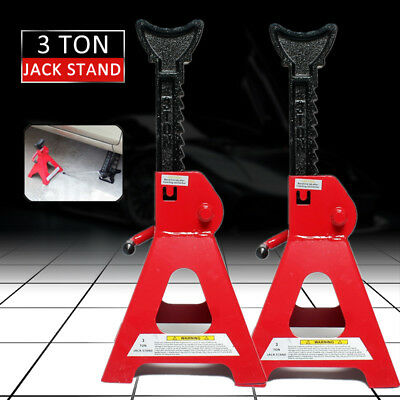New 2pcs Car Jack Stand 3T 3000kg Ratchet Adjustable Lift Hoist Heavy Duty Steel