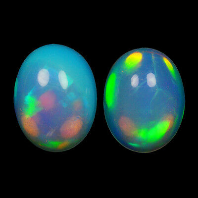 2.29Cts Natural White Welo Ethiopian Opal Pair Top Fire Gemstone Oval Cabochon
