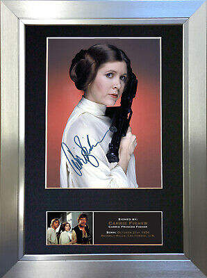 CARRIE FISHER Signed Autograph Mounted Photo Reproduction A4 Print no540