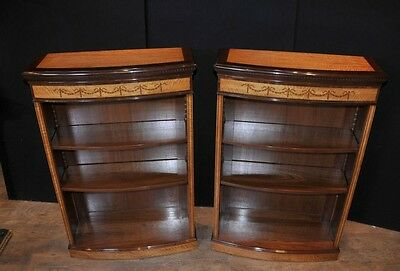 Pair Regency Open Bookcases Sheraton Satinwood Bookcase