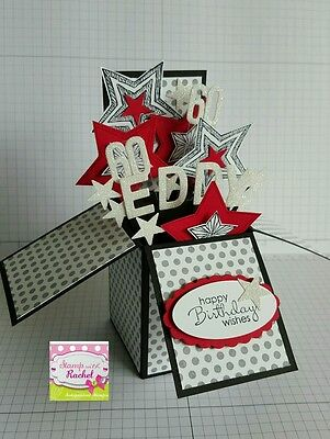 Handmade card, card in a box,PERSONALISED  birthday card bl/red stars,stampin up