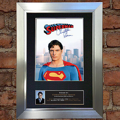 CHRISTOPHER REEVE Signed Autograph Mounted Reproduction Photo A4 Print 373