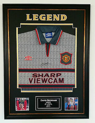 *Very Rare DAVID BECKHAM of MANCHESTER UNITED Signed Shirt Autograph Display **