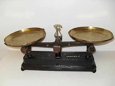 Antique Cast Iron French Scales - Force 10 KiloG - with Brass Pans