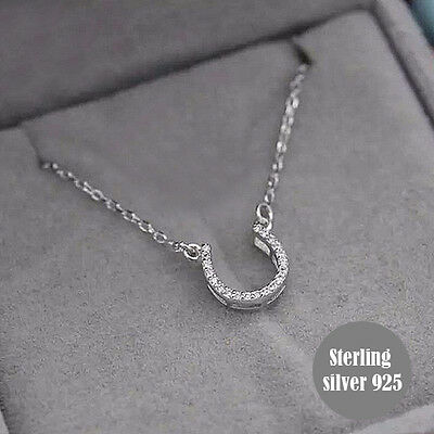 Equestrian Horseshoe lucky Necklace Pendant white CZ Paved Silver925 Women gift
