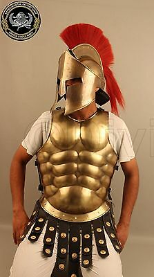 Medieval Muscle Suit With Spartan Helmet Halloween Costumes  Brass Finish Rfg256