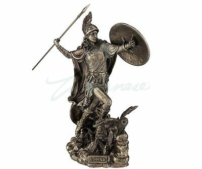 Athena Throwing Javelin With Owl Of Wisdom Statue Sculpture  - New in Box
