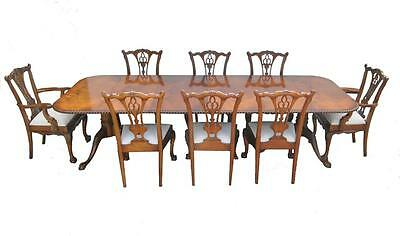 Irish Chippendale 9 Piece Flamed Mahogany Dining Room Set by Millender Furniture