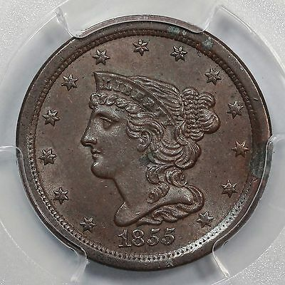 1855 PCGS MS 62 BN Braided Hair Half Cent Coin 1/2c