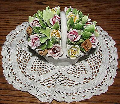 Rare Lovely Vtg. Hand-Crafted & Painted Bone China Basket Of Pink & Yellow Roses