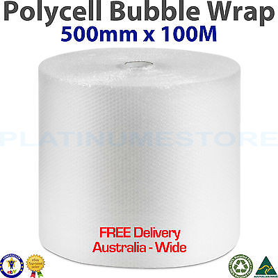 500mm x 100M Metres Bubble Cushioning Wrap Roll Clear 10mm Bubbles FREE POST