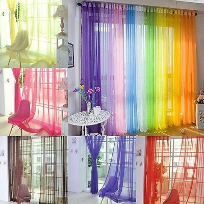 13 Colour Sheer Curtain Window Curtains Metal Eyelet Voile Panel Valances Door