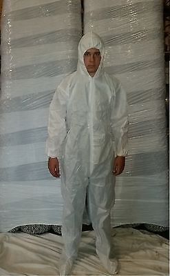 25 White Disposable Coverall SMS Bunny Suit Keystone CVL-SMS-B  Size XXL
