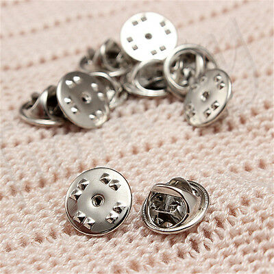 10/30/50pcs Silver Metal Badges Hat Tac Lapel Pin Back Butterfly Squeeze Clasp