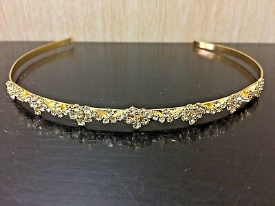 Wedding bridal party headband in gold colour with crystal rhinestones
