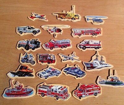 20 Wooden Melissa & Doug Transportation Police Fire Department Rescue Magnets