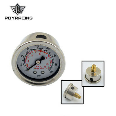 Fuel Pressure Gauge Liquid 0-160 psi Oil Pressure Gauge Fuel Gauge White Face