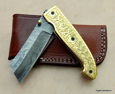 HANDMADE Damascus steel blade POCKET KNIFE, FOLDING KNIFE, BRASS HANDLE