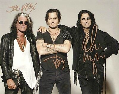 Johnny DEPP Joe Perry Alice Cooper Hollywood Vampires signed autograph photo RP