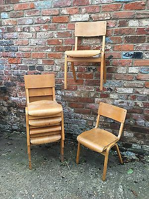 6 Vintage Old School Bentwood Stacking Chairs Industrial Retro Classic