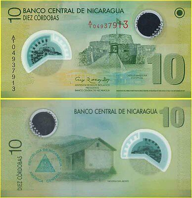 Nicaragua Mint 10 Cordobas First Prefix A1 04937913 Polymer Banknote Issue p201