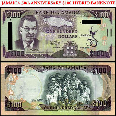 Jamaica $100 Hybrid Banknote 50th Anniversary commemorative Paper-Polymer Issue