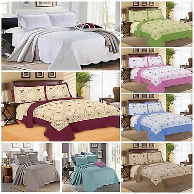 Luxury Bedspread 3 Piece Embroidered Quilted Bedding Set Bed Throws + Pillowcase