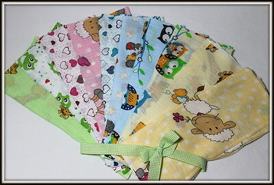 Set 2to10 Decorative Large Square 70x80cm Muslin Bibs Cloths Baby Reusable Nappy