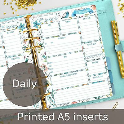 A5 Daily planner inserts - Day on one page - Filofax A5, Kikki K, Carpe Diem