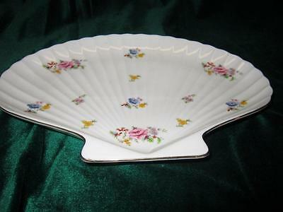 """Shabby Chic Dresser Tray Shaddy Japan Fan Shape Floral Country Cottage 10 1/2"""""""