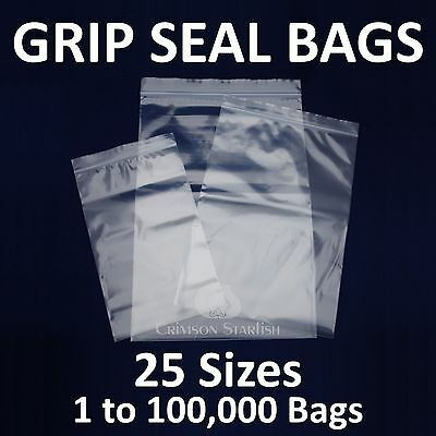 GRIP SEAL BAGS * Self Resealable Clear Polythene Plastic Zip Lock * 25 Sizes