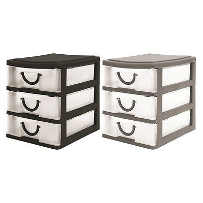 Handy 3 Drawer Tower Storage Unit Pull Out Draws Desktop in Black / Grey Colour