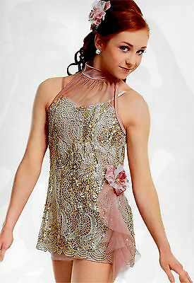 Blushing Gold & Pink Sequin Embroidered Tunic Dress Lyrical Ballet Dance Costume